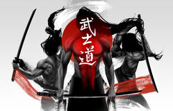 Samurai warriors illustration composition. Illustration of black and white muscular samurai figures posing with swords and red striped grunge lines, Bushido Stock Image