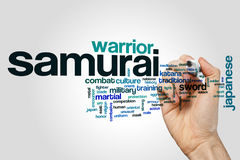 Samurai word cloud concept. Samurai word cloud on grey background Royalty Free Stock Photo