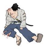 Samurai wounded illustration Royalty Free Stock Photos