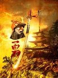 Samuraiklingen und -sturzhelm Lizenzfreies Stockfoto