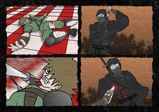 Samuraikämpfer komisch Stockfoto