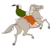 Samuraikriegerklinge zu Pferde Stockfotos