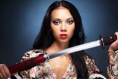 samuraikvinna royaltyfria bilder