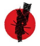 Samurais mit Flaggengraphik Stockfoto