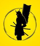 Samurais mit Flaggengraphik Lizenzfreie Stockfotografie