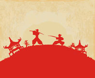 Samuraischattenbild Lizenzfreies Stockbild