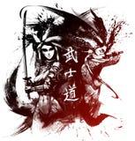 Samuraj dziewczyna z kataną ilustracji