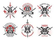 Samuraj maski etykietki Japonia gniewne twarze dla wojownika opancerzenia wektorowych etykietek tatuują logo projekta projekty ilustracji