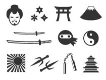 Samuraj- och ninjasymboler Arkivbilder