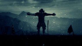 Samuraj władyka Z Pełnym opancerzenia narządzaniem Dla bitwy Pod śniegiem zdjęcie wideo