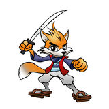 Samuraja Fox maskotka Zdjęcia Stock