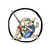 Samuraja Jui Jitsu dżudo Walczy Enso tatuaż Obrazy Stock