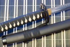 Samuraja kordzik sztuka bronie od antycznego Japonia, katana fotografia royalty free