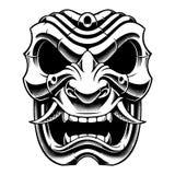 Samuraja wojownika maski czarny i biały projekt royalty ilustracja