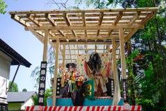 Samurajen avbildar på etapp i Akita, Japan Royaltyfria Bilder