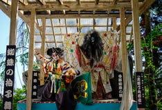 Samurajen avbildar på etapp i Akita, Japan Arkivfoton