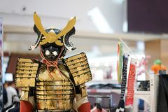 Samurajer eller japansk krigare Harnesk på skärm royaltyfri bild