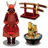 Samurajer, katana på ställning och dekorativ springbrunn royaltyfri illustrationer