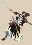 Samurajer med 2 ord Arkivfoton