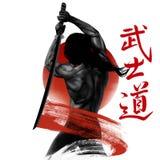 Samurajer med svärdet Arkivfoton