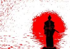 Samurajer på bakgrunden av resningsolen Royaltyfri Illustrationer
