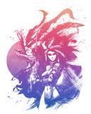 Samurajflickor med Katanas royaltyfri illustrationer