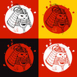 Samurajkrigareuppsättning Tryck för t-shirt Royaltyfri Foto
