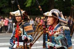 Samurajowie przy Jidai Matsuri festiwalem Kyoto, Japonia Fotografia Royalty Free