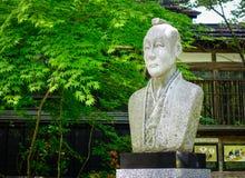 Samurajstaty på trädgården Arkivfoto