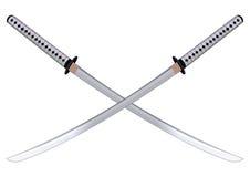 Samurajów kordziki również zwrócić corel ilustracji wektora Obrazy Stock