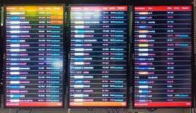 Samut Prakan, Thailand - 23 April 2018; Flight information display board in Suvarnabhumi Airport. Editorial stock photography