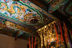 Samut Prakan, Thailand - February, 3, 2019 : Beautiful tradintional chinese art ceiling at Shrine Xian Dai Lo Tian Gong, a new stock image