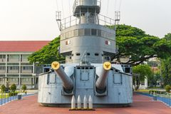 Super structure and gun turret of 80 years old HTMS Thonburi. SAMUT PRAKAN, THAILAND - MARCH 24, 2018 : Super structure and gun turret of 80 years old HTMS royalty free stock image