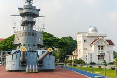 Super structure and gun turret of 80 years old HTMS Thonburi. SAMUT PRAKAN, THAILAND - MARCH 24, 2018 : Super structure and gun turret of 80 years old HTMS royalty free stock photos