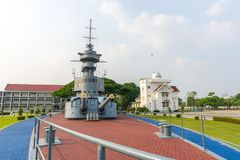 Super structure and gun turret of 80 years old HTMS Thonburi. SAMUT PRAKAN, THAILAND - MARCH 24, 2018 : Super structure and gun turret of 80 years old HTMS stock image