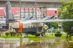 Old aircraft model Grumman HU-16B, 51-7235, Albatross at Naval Museum, Samut Prakan, Thailand royalty free stock photos