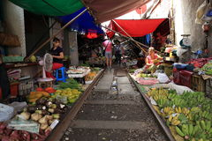 Samut Songkhram, Railway Market Thailand Stock Photography