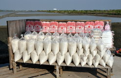 Samut Songkhram, Thailand: Bags of Salt Stock Image