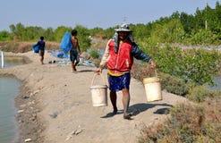Samut Songkhram, Thailand: Fish Farm Workers Royalty Free Stock Photo