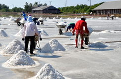 Samut Songkhram, Thailand: Harvesting Sea Salt Stock Photo