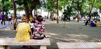 Samut Songkhram, Thailand - Juni 23, 2018: Oude Aziatische vrouwen die, en naast op marmeren bank in park met groen spreken zitte stock afbeeldingen