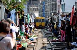 Samut Songkhram, Thailand: Mae Klong Railway Mkt. Stock Images