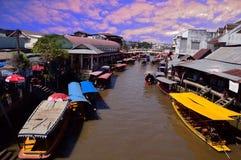 SAMUT SONGKHRAM, THAILAND - May 10, 2018 The amphawa river. Amphawa market. Floating market. Real life at amphawa floatinf market royalty free stock photos