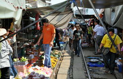 Samut Songkhram, Thailand: Railway Market Royalty Free Stock Photo
