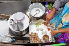 Samut songkram, Thailand November 11, 2017: Cooking Thai steamed rice-skin dumplings. By Steamer at Tha kha Floating Market Royalty Free Stock Photos