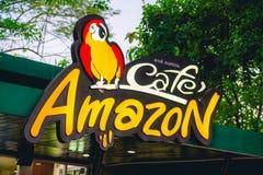 Samuthsakorn,泰国- 2月13 :咖啡馆亚马逊P的饮料商店 免版税库存照片
