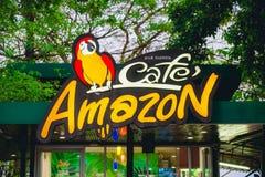 Samuthsakorn,泰国- 2月13 :咖啡馆亚马逊P的饮料商店 免版税库存图片