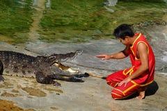` SAMUTPRAKARN `, THAILAND - 25. DEZEMBER 2016: Es ist Krokodilshow am Bauernhof am 25. Dezember 2016 in Samutprakarn, Thailand Stockfotografie