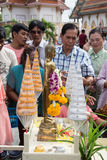Samutprakarn, THAILAND - OCT 09 : Buddhist monks are given food offering from people for End of Buddhist Lent Day. on October 09, Stock Photos