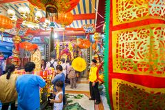 SAMUTSAKHON, TAILANDIA 11 DE MAYO: Adoración no identificada de la gente durante Fotografía de archivo
